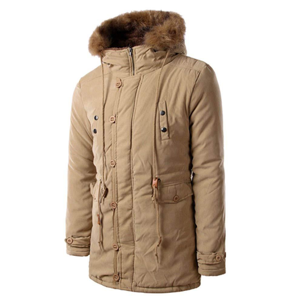 Seaintheson Men's Hooded Pullover,Autumn Winter Warm Sweatshirt Casual Long Sleeve Solid Hooded Fur Collar Jacket Tops