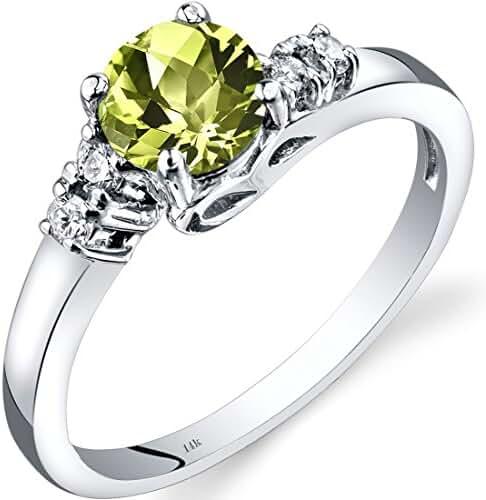 14K White Gold Peridot Diamond Solstice Ring