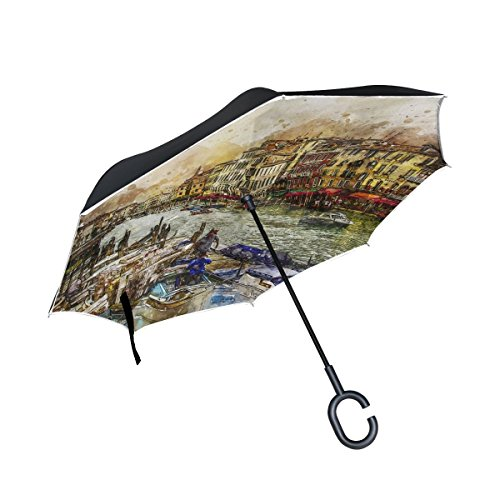 (DNOVING Double Layer Inverted Venice Grand Canal Venezia Boats Italian Water Umbrellas Reverse Folding Umbrella Windproof Uv Protection Big Straight Umbrella For Car Rain Outdoor With C-shaped Handle)