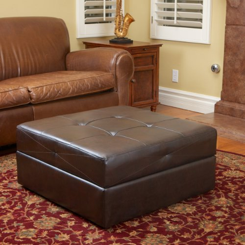 Burlington Brown Leather Storage Ottoman by Christopher Knight Home (Leather Ottoman Metal And)