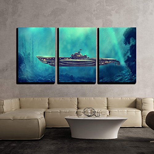 wall26 - 3 Piece Canvas Wall Art - Illustration - Fantastic Pirate Submarine in the Underwater Environment. Digital Art - Modern Home Decor Stretched and Framed Ready to Hang - 24