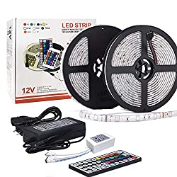 Dohome Led Strip Light Waterproof Flexible Color Changing Rgb Smd 5050 300leds Led Strip Light Kit With 44 Keys Ir Remote Controller And 12v 5a Power Supply For Home Kitchen Indoor Decoration 10m