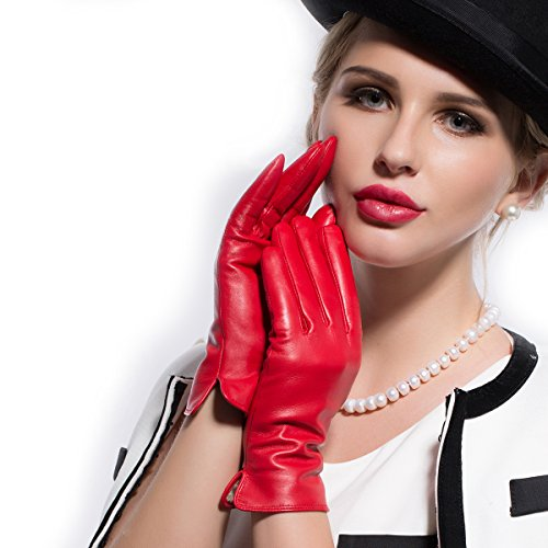 Kursheuel Women Lady's Fashion Genuine lambskin soft leather driving Gloves 14 colors KU141 (M, Red) (Ladies Leather Hats)