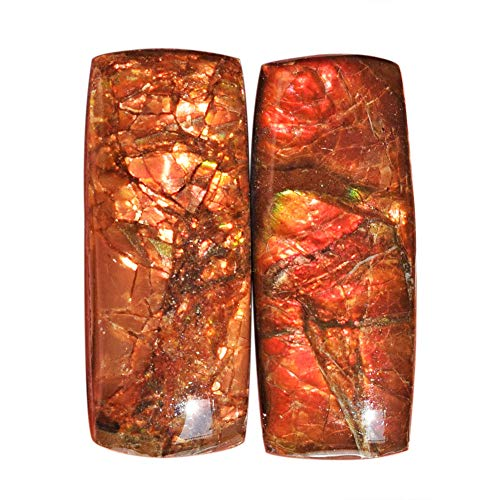 (Genuine Red Flashy Ammolite Pair Cabochon, Size 25x10x5 MM Earring Pair Stone, Ammonites, Jewellery Making New Gemstone AG-12150)