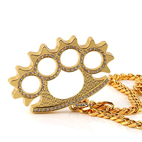 HZMAN Men 18k Real Gold Plated Brass Knuckles Pendant Necklace,Cz Inlay,with Cuban hip hop Chain 30