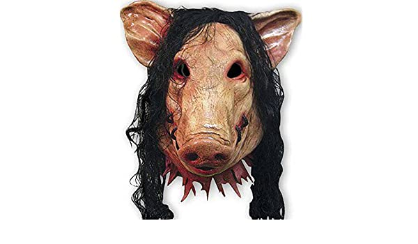 Amazon.com: 2525 NEW halloween saw movie realistic pig mask with hair animal head emulsion cosplay mask scary funny jokes mascara carnaval new: Home & ...