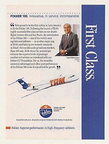 1990-tam-airlines-fokker-100-jetliner-jet-original-print-ad-43660