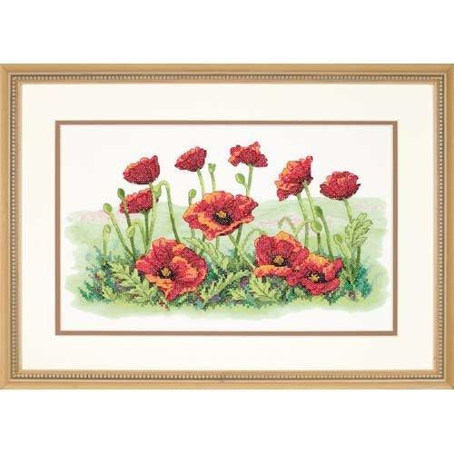 Dimensions 'Field of Poppies' Stamped Cross Stitch Kit, 16'' W x 10'' -