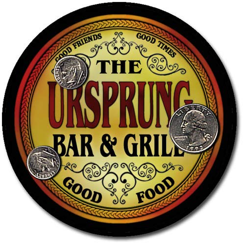 ZuWEE Brand Bar and Grill Coaster Set Personalized with the Ursprung Family Name