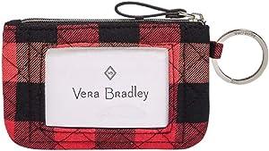 Vera Bradley Iconic Zip ID Case Garnet Buffalo Check One Size