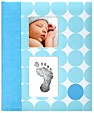 Pearhead Modern Dots Baby Book with Clean-Touch Ink Pad Included, Blue