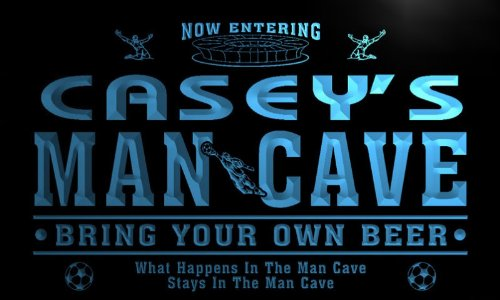 qd1479-b CASEY's Man Cave Soccer Football Bar Neon Beer Sign by AdvPro Name
