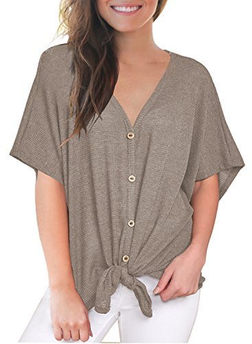 (MIHOLL Womens Loose Blouse Short Sleeve V Neck Button Down T Shirts Tie Front Knot Casual Tops (Medium, Coffee))