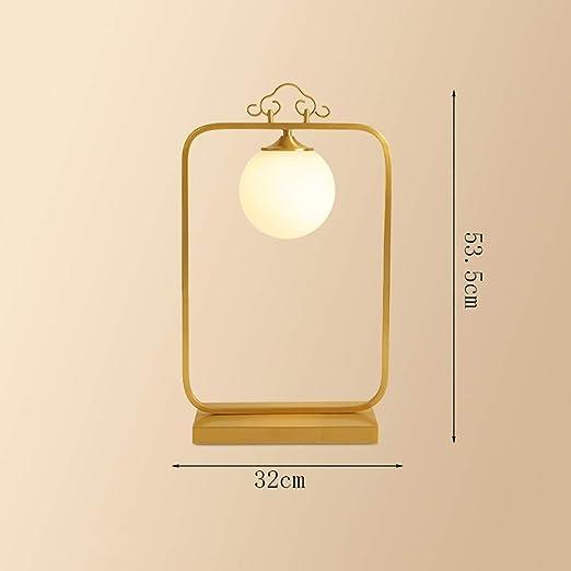 AXWT Lámpara de mesa Dormitorio clásico Lámpara de cabecera Cobre ...