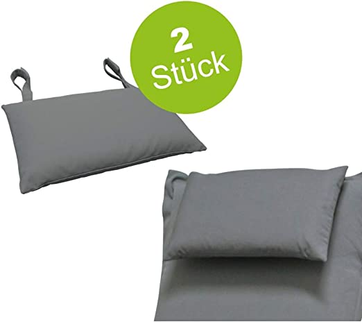 Indoba - 2 Cojines Muebles de jardín, Color Gris, Cojines Acolchados, Cojines para la Cabeza, sillas, tumbonas de jardín: Amazon.es: Jardín