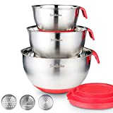 SveBake Mixing Bowls - Stainless Steel Mixing Bowl Set with Handles, Spout, Non-Slip Base and Graters, Set of 3, Red