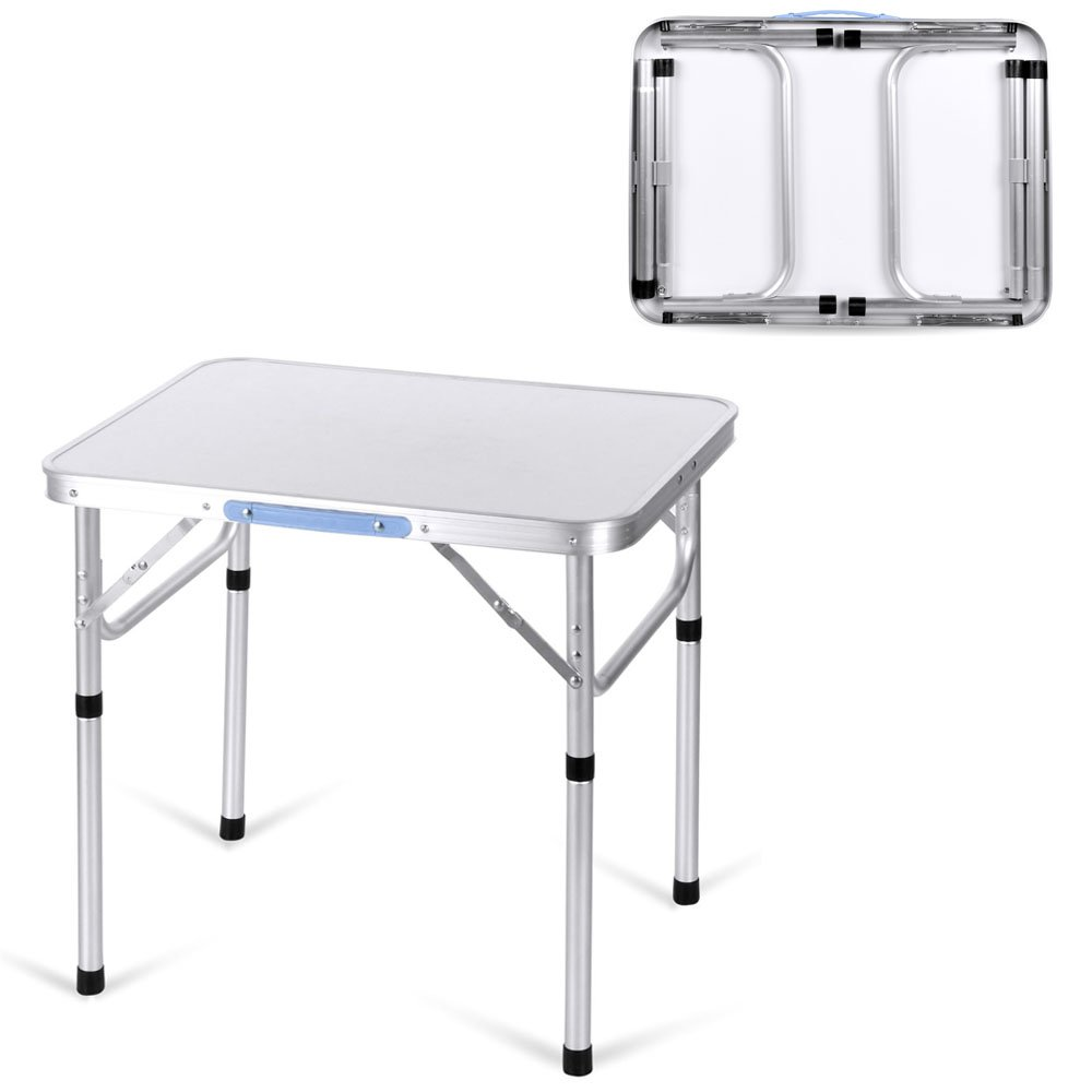 Cosway Portable Folding Aluminum Utility Table with Carrying Handle Outdoor For Garden Party Picnic Camping, Silver