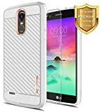 LG Stylo 3 Case, LG Stylo 3 Plus Case with FREE [Tempered Glass Screen Protector], NageBee [Frost Clear] [Carbon Fiber] Slim Soft TPU Protective Rubber Bumper Cover Case For LG LS777 (Rose Gold)