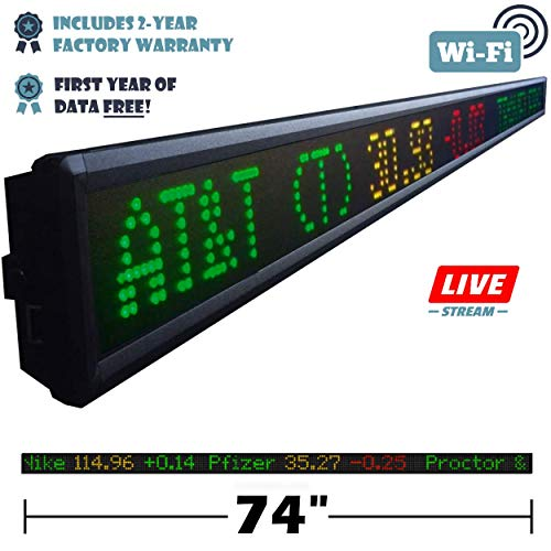 Financial Ticker 74-Inch LED Sign with Live Content, Displays Dow Top 30 Stocks, Business News, Currency Gold and More (Best Live Stock Ticker)