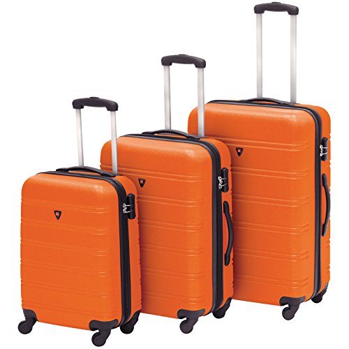 Hardshell 3 Piece Expandable Spinner Luggage Set - Orange + FREE E - Book by Eight24hours