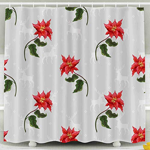 Poinsettia Deer - Shorping 78x72 Shower Curtain,Kids Shower Curtain, Background Poinsettia Flowers Deers Backdrop Christmas Collection Waterproof Decor Bathroom Set with Hooks