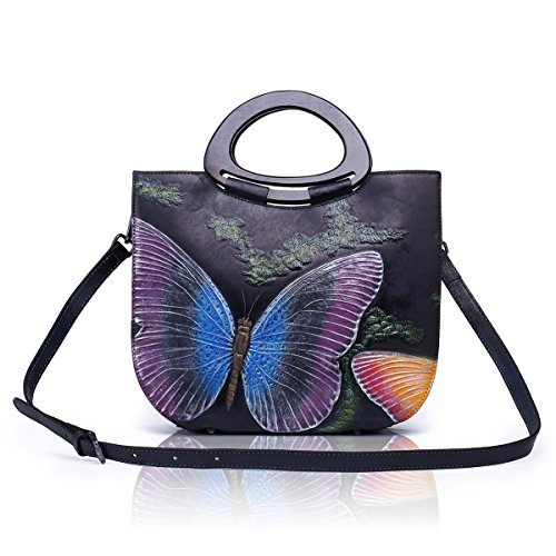 Handle Handbag Style Messenger Art Body Cross Painted Top Cowhide Tote Ladies Leather Bag Hand APHISONUK pZgwqzBg