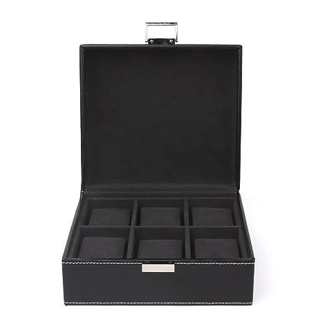 FEMOR Caja para Relojes Estuche para Guardar Joyerías Soporte de Exhibición de Relojes Pulsera PU Negro 6 Compartimentos 2x3 Almohadillas Negras