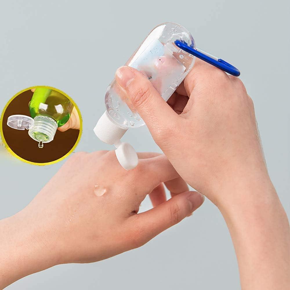 Bouteille de Voyage Transparente Portable /étanche Bouteille Rechargeable Vide de 10 PCS avec Porte-cl/és r/écipient Vide en Plastique Transparent /à Capuchon Rabattable