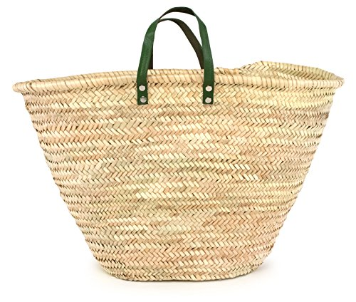 (Moroccan Straw Market Bag w/ Green Leather Strip Handles, 25