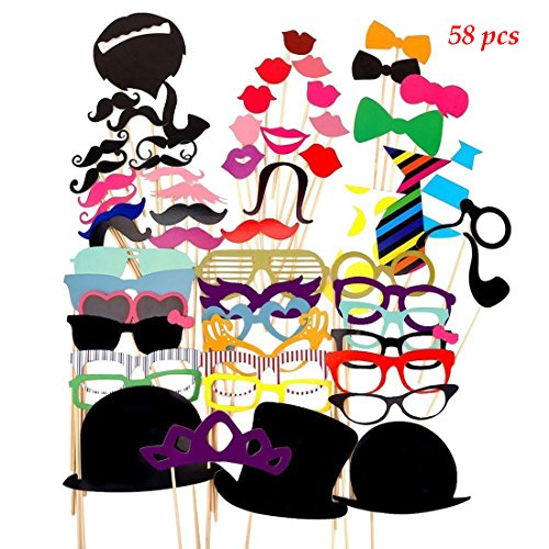 [Tresbro 58 Pieces DIY Kits Photo Booth Props Party Favor for Wedding Party Reunions Graduation Birthdays Dress-up Accessories Costumes with Mustache, Hats, Glasses, Lips, Bowler, Bowties on] (Cute Baby Boy Costumes Ideas)