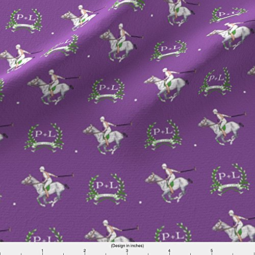Spoonflower Equestrian Fabric P+L Purple Polo by Ragan Printed on Performance Piqué Fabric by the Yard (Polo Eco Pique)