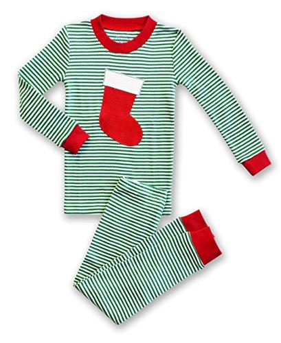 - Sara's Prints Unisex Holiday Stocking 2-Piece Long John Pajamas, Kids Size 6