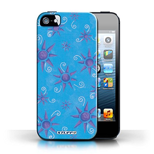 Etui pour Apple iPhone 5/5S / Bleu/Violet conception / Collection de Motif Soleil