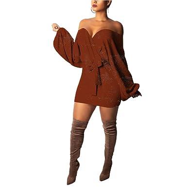 0429781f6ac IyMoo Long Sweaters for Women - Puff Long Sleeve Surplice Wrap Bodycon Knit  Sweater Midi Dress