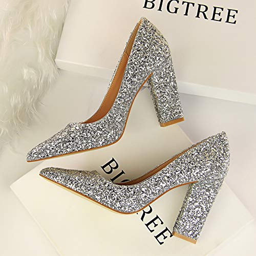 Yukun zapatos de tacón alto Autumn Red Bridal Shoes Thick with Pointed Silver Gold Wedding Shoes Sequins High-Heeled Shallow Mouth Women's Shoes Silver