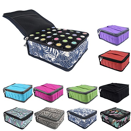 Essential Oils Storage – pureGLO 30 Bottle Essential Oil Carrying Case - Essential Oil Organizer Bag Travel Carrier Holds 5ml, 10ml, 15ml Vials – Holder for Young Living & Doterra Containers (Flor
