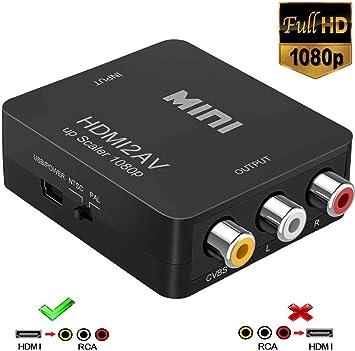 Adaptador HDMI a RCA, 1080p HDMI a AV 3RCA CVBs de vídeo Compuesto Compatible con PAL/NTSC para TV Stick, Roku, Chromecast, Apple TV, PC, portátil, Xbox, HDTV, DVD (Negro): Amazon.es: Electrónica