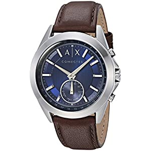 A|X Armani Exchange Men's Hybrid Smartwatch, Stainless Steel, Brown Leather Strap, 44 mm, AXT1010