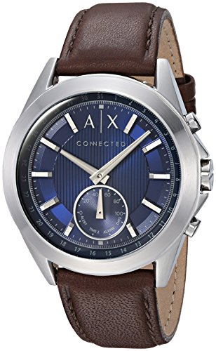 Armani Exchange Men's Hybrid Smartwatch, Stainless Steel, Brown Leather Strap, 44 mm, AXT1010