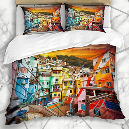 Ahawoso Duvet Cover Sets Queen/Full 90x90 Bay Brasil Rio De Janeiro Downtown Favela Aerial Brazil Parks Beach House City Loaf Design Urca Microfiber Bedding with 2 Pillow Shams