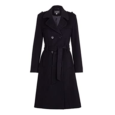 8b657182b47 De La Crème - Womens Wool   Cashmere Belted Long Military Trench Coat