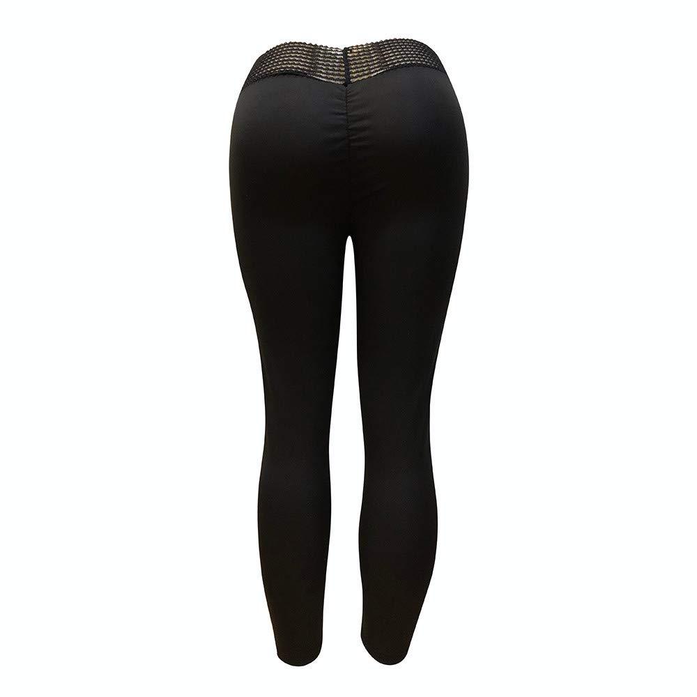Leggings de Mujer con Pliegues.Pantal/ón Deportivo de Mujer Malla para Running Yoga y Ejercicio,Deportes Yoga Fitness Gym , Super Soft Pantalones de de Las Mujeres