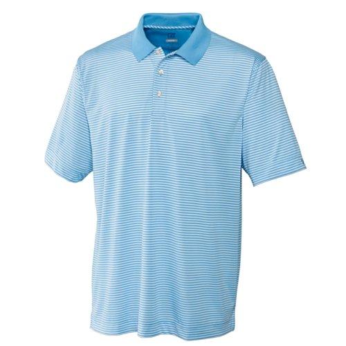 Cutter & Buck Men's CB Drytec Trevor Stripe Polo Shirt, Atlas/White, X-Large