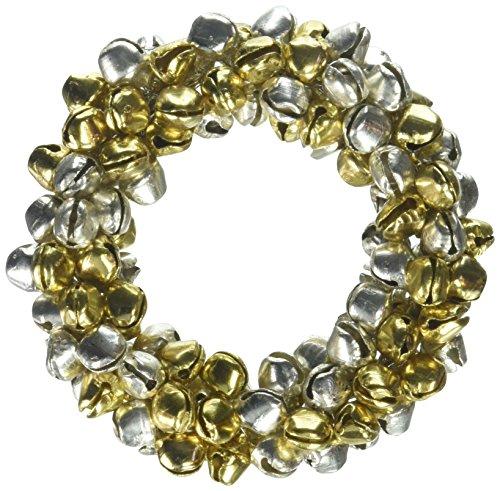 SARO LIFESTYLE Small Jingle Bell Christmas Napkin Ring-Set of 4, Multi