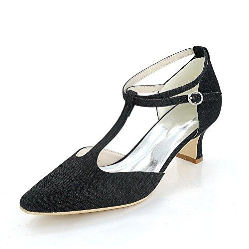 L@YC Zapatos De Boda Para Mujer Y Vestidos De Noche De SatéN Y Bodas De Primavera Y Verano Black