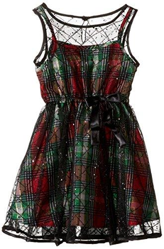 Bonnie Jean Girls Sleeveless Glitter Overlay Plaid Party Dress, Black, (Plaid Overlay)