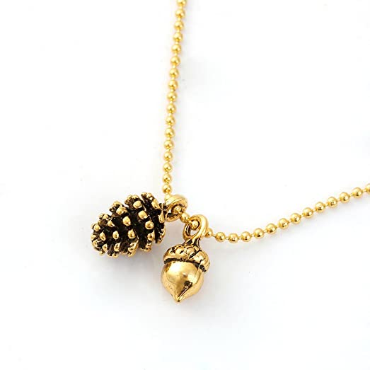 Amazon joji boutique golden pine cone and acorn necklace jewelry joji boutique golden pine cone and acorn necklace mozeypictures Gallery
