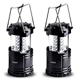 LED Camping Lantern - LED Camping Lantern, Survival Kit for Hurricane, Emergency, Storm, Outages, Outdoor Portable Lantern, Black, Collapsible (2 Pack) - Vont