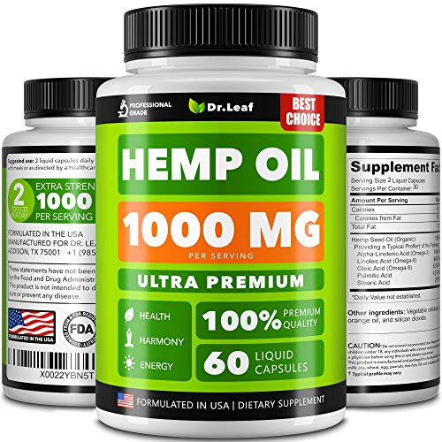 Hemp Oil Capsules 1000 MG PER SERVING - Best for Anxiety & Stress Relief - Hemp Capsules made in USA - 100% Natural - Anti Inflammatory, Mood & Immune Support - Skin Health, Deep Sleep - Omega 3, 6, 9