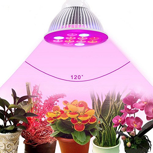 LED Plant Grow Lights 24W Plant Lights E27 Growing Bulbs 3 Wavelengths tailored Led Grow Lamps For Garden Greenhouse, Hydroponic and Family Balcony